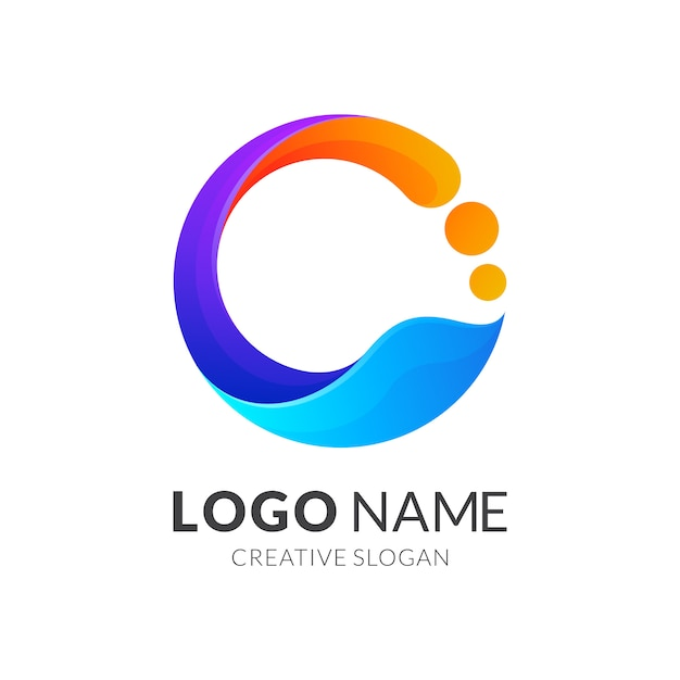 Initial letter c logo with colorful Premium Vector
