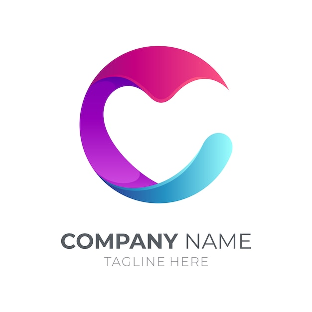 Initial letter c logo with heart/love Premium Vector