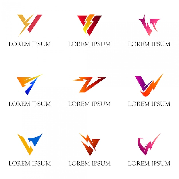Initial letter v with thunder logo collection Premium Vector