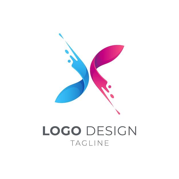 Initial letter x logo with splash motion Premium Vector