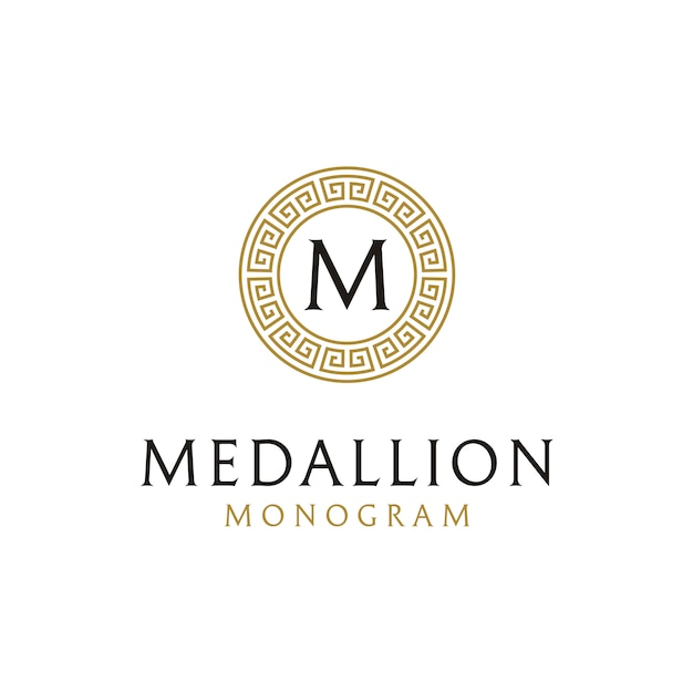 Initial logo design with ancient greek circle border frame Premium Vector