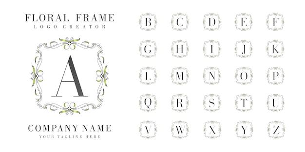 Initial logo monogram with floral ornaments Premium Vector