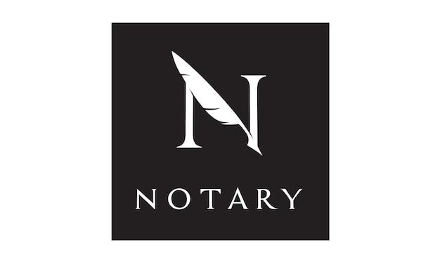 Initial / monogram n for notary logo Premium Vector