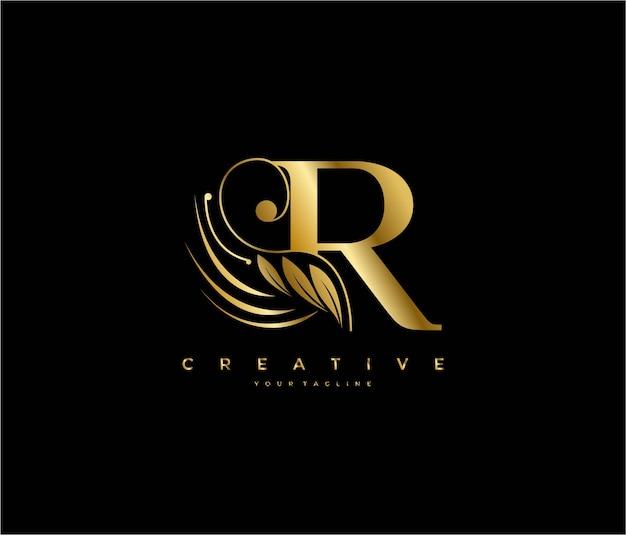 Initial r letter luxury beauty flourishes ornament golden monogram logo