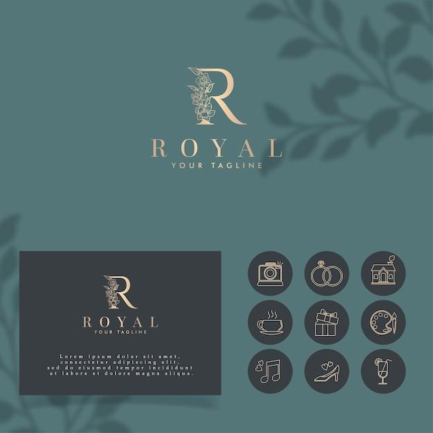 初期r royal minimalistロゴ編集可能なテンプレート Premiumベクター