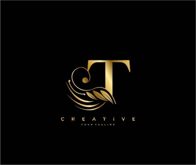 Буквица t роскошная красота процветает орнамент золотой вензель логотип Premium векторы