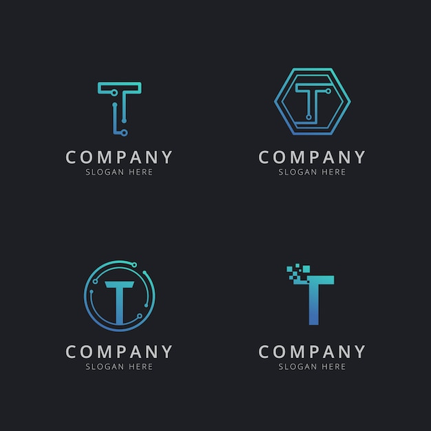 Initial t logo with technology elements in blue color Premium Vector
