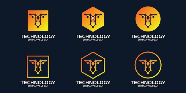 Initial t logo with technology elements Premium Vector