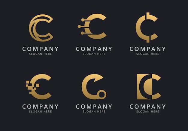 Шаблон логотипа initials c с золотистым стилем для компании Premium векторы