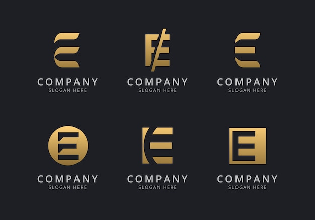 Initials e logo template with a golden style color for the company Premium Vector