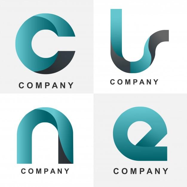 Initials four blue logo design Premium Vector