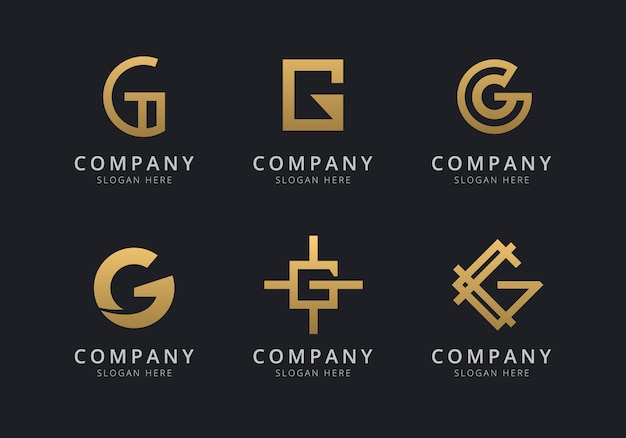 Initials g logo template with a golden style color for the company Premium Vector