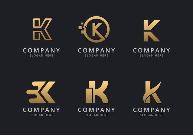 Шаблон логотипа initials k с золотистым стилем для компании Premium векторы