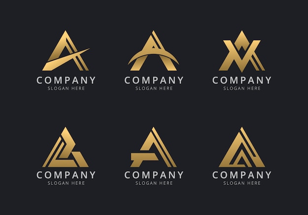 Initials a logo template with a golden style color for the company Premium Vector