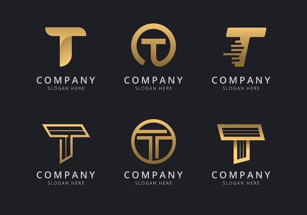 Шаблон логотипа initials t с золотистым стилем для компании Premium векторы