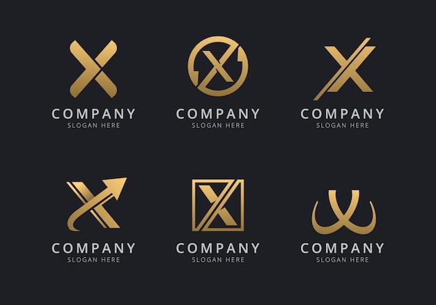 Шаблон логотипа initials x с золотистым стилем для компании Premium векторы