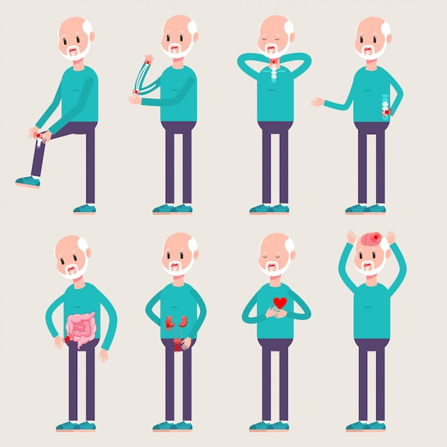 Injuries and diseases of the elderly people. vector cartoon old man character set isolated on background. Premium Vector