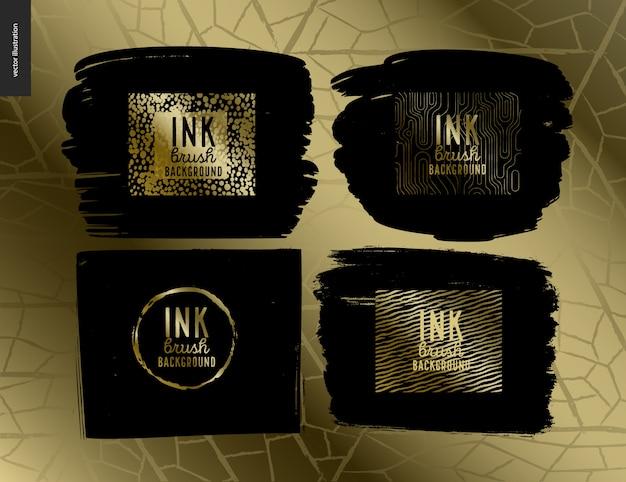 Ink brush group set Premium Vector