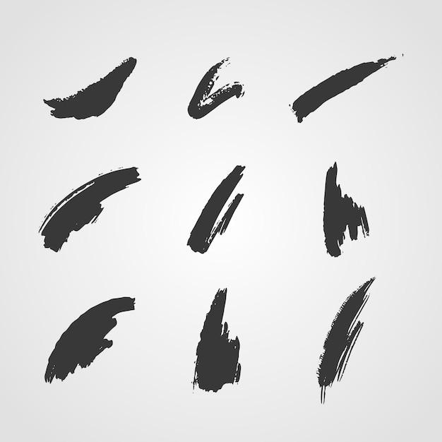 잉크 브러시 스트로크 컬렉션 무료 벡터