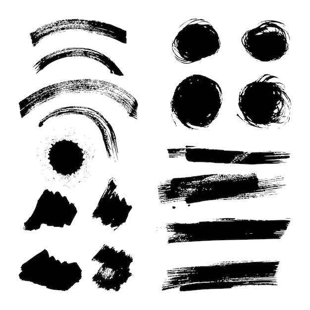 Ink brush stroke different grunge creative element paintbrush Premium Vector