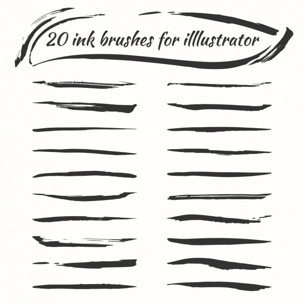 Ink brushes collection Free Vector