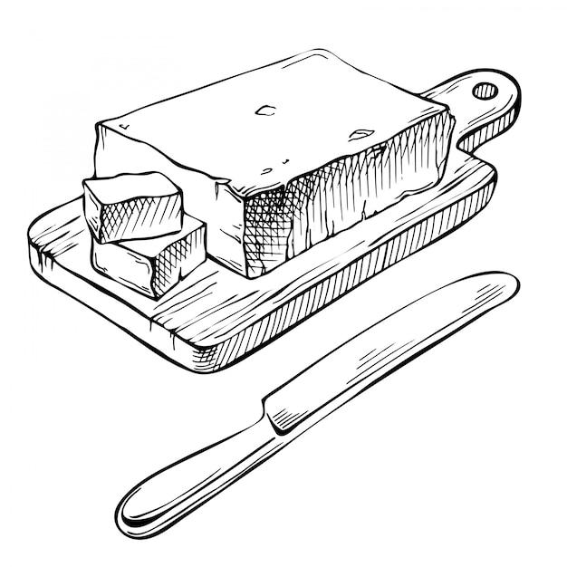 インク手描きバター。 Premiumベクター