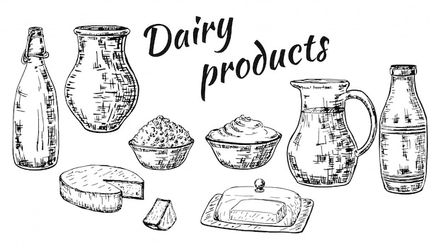 Ink hand drawn sketch style dairy products set Premium Vector