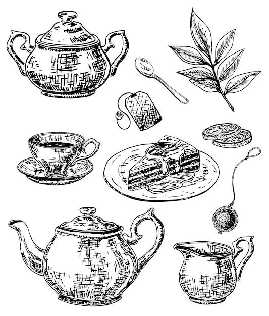 Ink hand drawn sketch style tea set Premium Vector