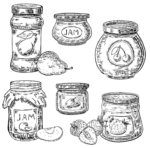 Ink hand drawn style fruit jam jar icon set Premium Vector