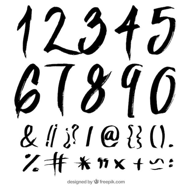 Raccolta del numero di inchiostro Vettore gratuito