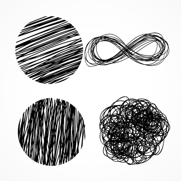 Ink pen scribbles Free Vector