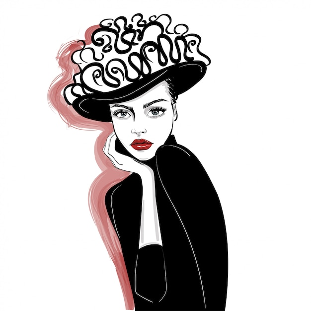 Ink portrait of woman in decorated hat Premium Vector
