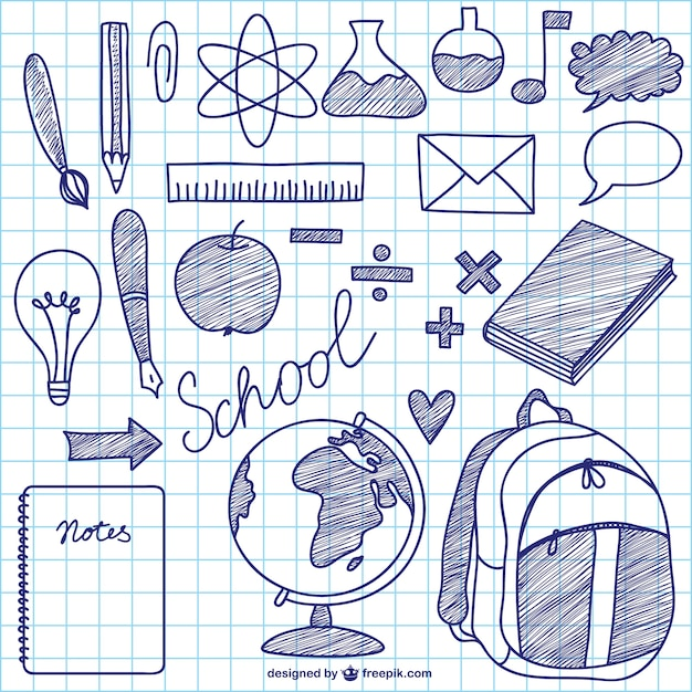 Ink school elements Free Vector