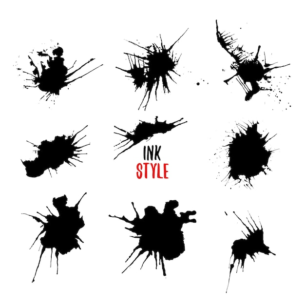 Ink splatters black set. Free Vector