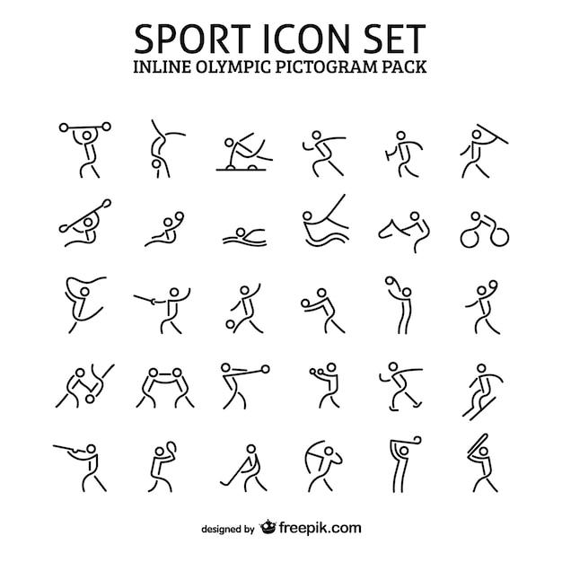 Inline sport icon pictogram pack Premium Vector
