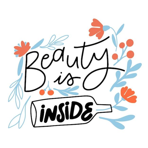 Внутренняя красота надписи с цветами Бесплатные векторы