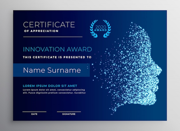 Innovation award certificate design with particle face Free Vector