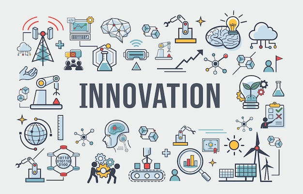 Innovation banner icon for business, brain, research, development and science. Premium Vector