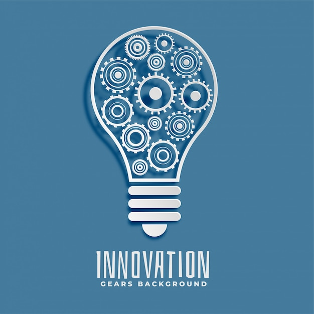 Innovation and idea bub and gears background Free Vector