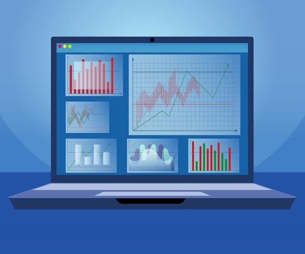 Innovation trader analysis program for laptop Premium Vector