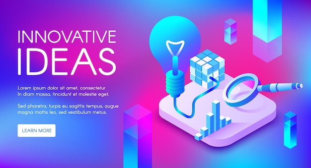 Innovative ideas illustration of lamp or lightbulb for digital marketing Free Vector