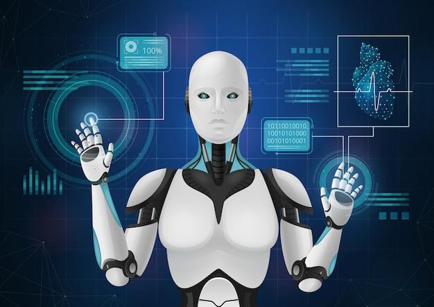 Инновационная медицина абстрактная композиция с изображением андроида демонстрирует элементы медицинской hud интерфейса векторные иллюстрации Бесплатные векторы