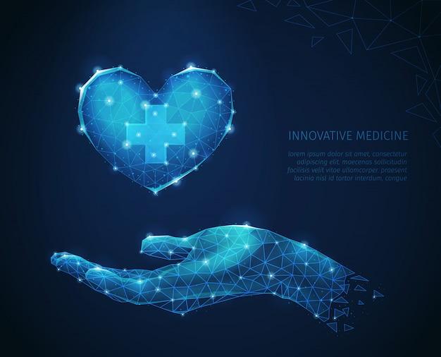 신중하게 심장 벡터 일러스트 레이 션을 들고 인간의 손의 다각형 와이어 프레임 이미지와 혁신적인 의학 추상 구성 무료 벡터