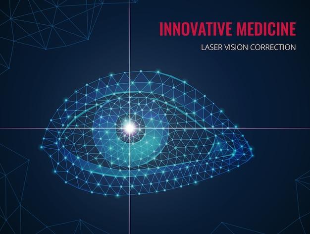 ワイヤーフレーム多角形スタイルとレーザー視力矯正ベクトルイラストの広告で人間の目の画像と革新的な医学 無料ベクター