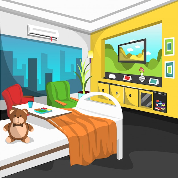 Inpatient rehab room kids hospital with single bed Premium Vector
