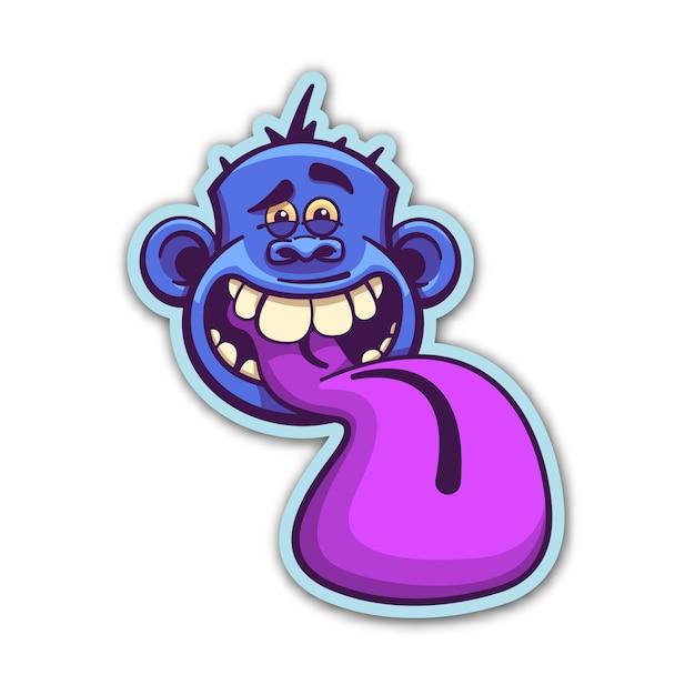 Insane monkey sticker Premium Vector