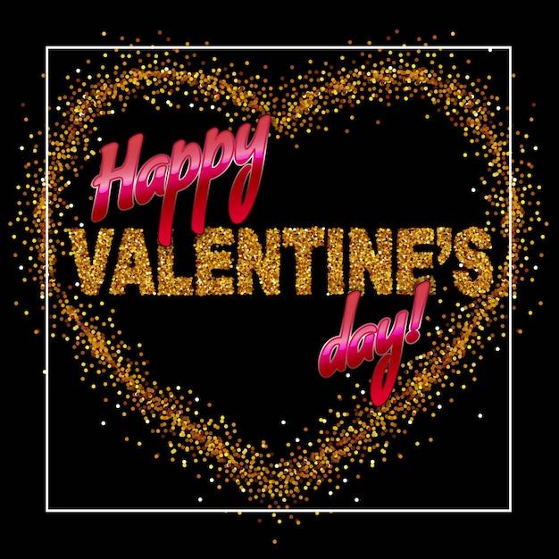 Inscription happy valentine's day on the gold sparkles heart Premium Vector