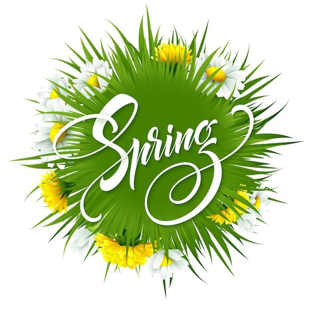 春の花と背景に碑文こんにちは春。図 Premiumベクター