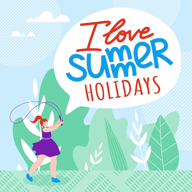 Inscription i love summer holidays cartoon flat. Free Vector