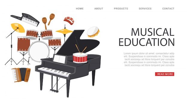 비문 음악 교육, 배너 광고, 참조 정보 웹 사이트, 음악가를위한 포털, 만화 그림. 프리미엄 벡터